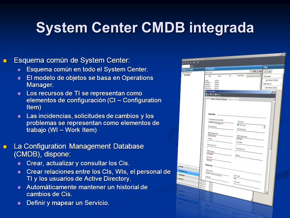 System Center CMDB integrada