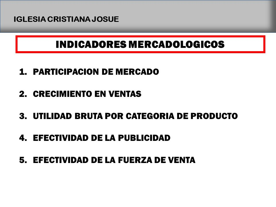 INDICADORES MERCADOLOGICOS