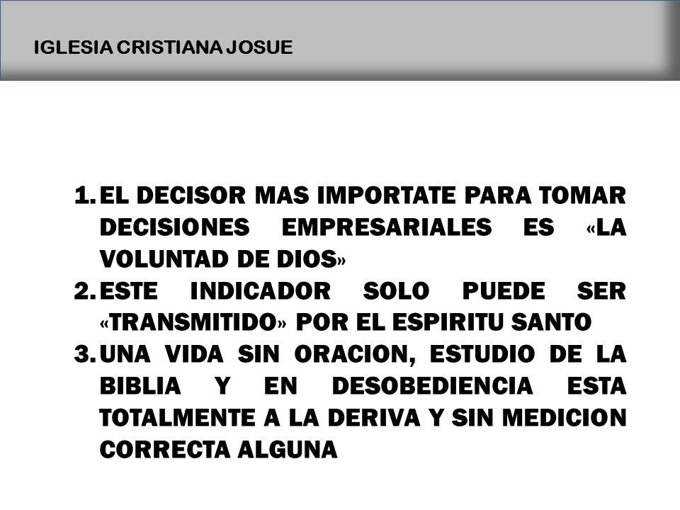 EL DECISOR MAS IMPORTATE PARA TOMAR DECISIONES EMPRESARIALES ES «LA VOLUNTAD DE DIOS»