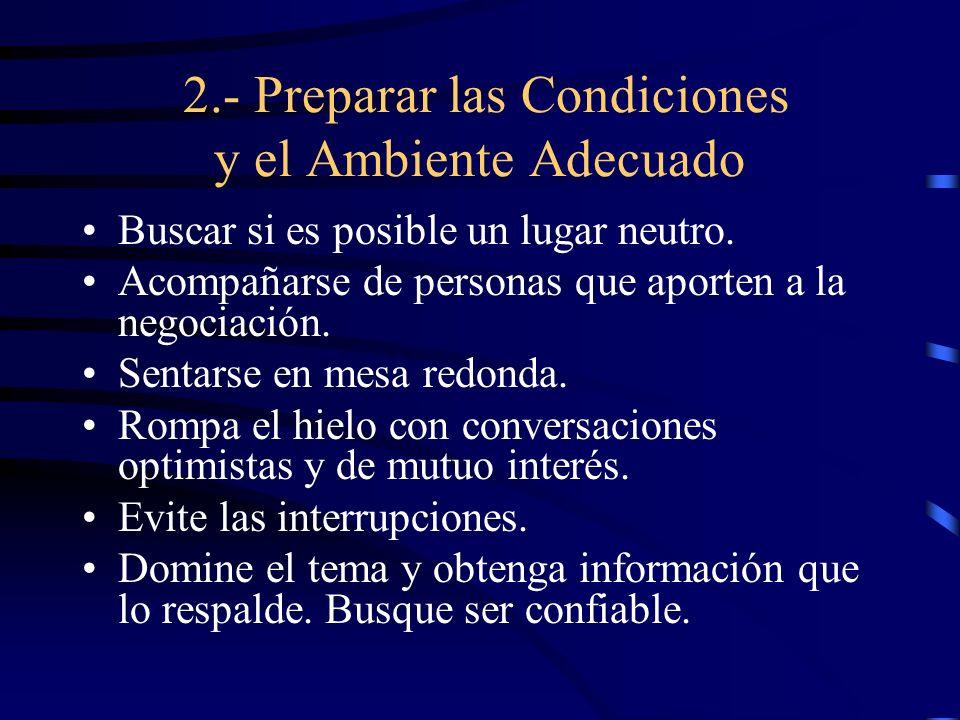 2.- Preparar las Condiciones y el Ambiente Adecuado