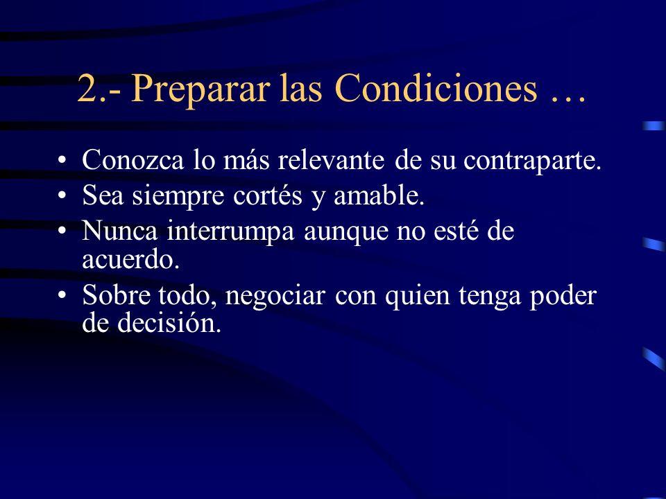 2.- Preparar las Condiciones …