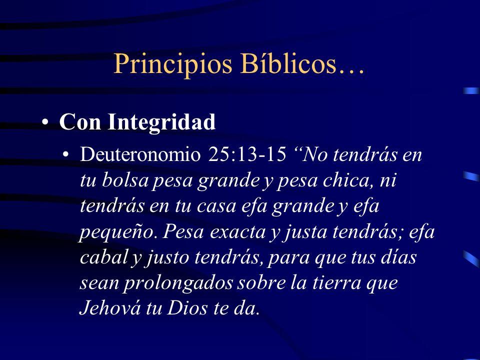 Principios Bíblicos… Con Integridad