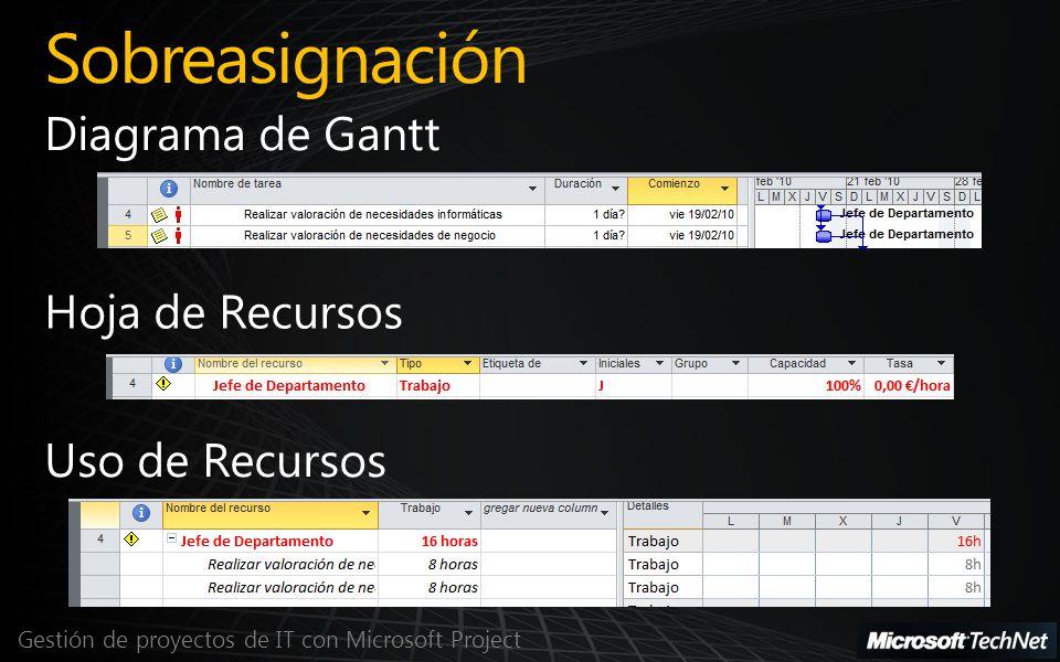Sobreasignación Diagrama de Gantt Hoja de Recursos Uso de Recursos