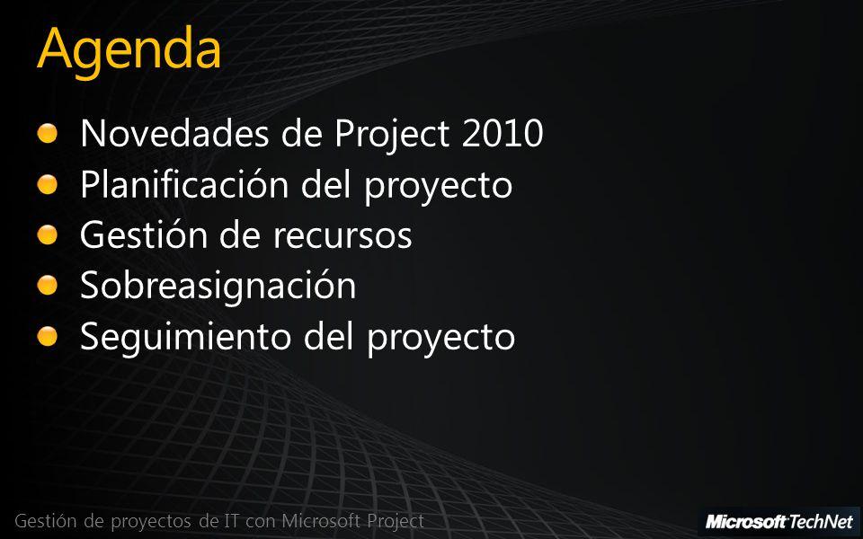 Agenda Novedades de Project 2010 Planificación del proyecto