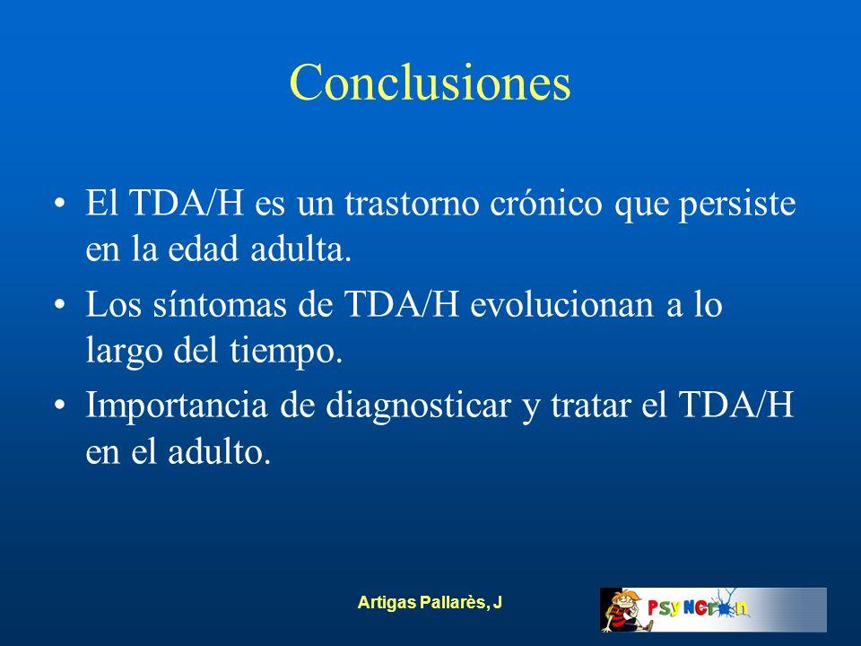 Conclusiones El TDA/H es un trastorno crónico que persiste en la edad adulta. Los síntomas de TDA/H evolucionan a lo largo del tiempo.