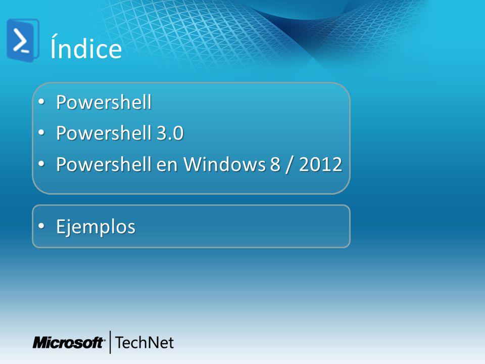 Índice Powershell Powershell 3.0 Powershell en Windows 8 / 2012