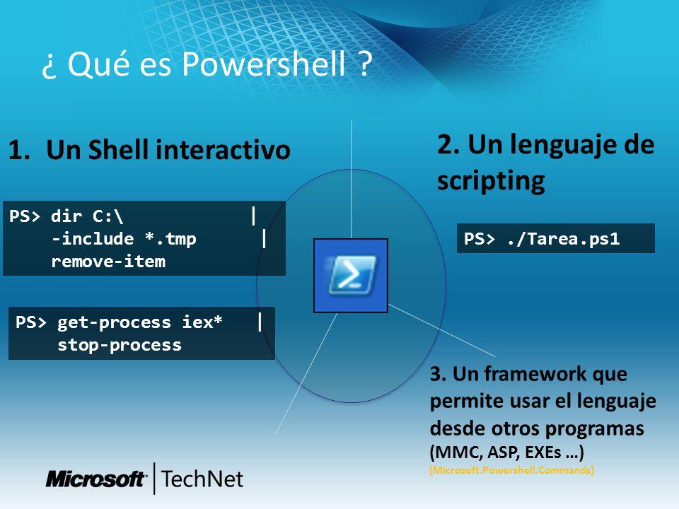 ¿ Qué es Powershell 2. Un lenguaje de scripting Un Shell interactivo