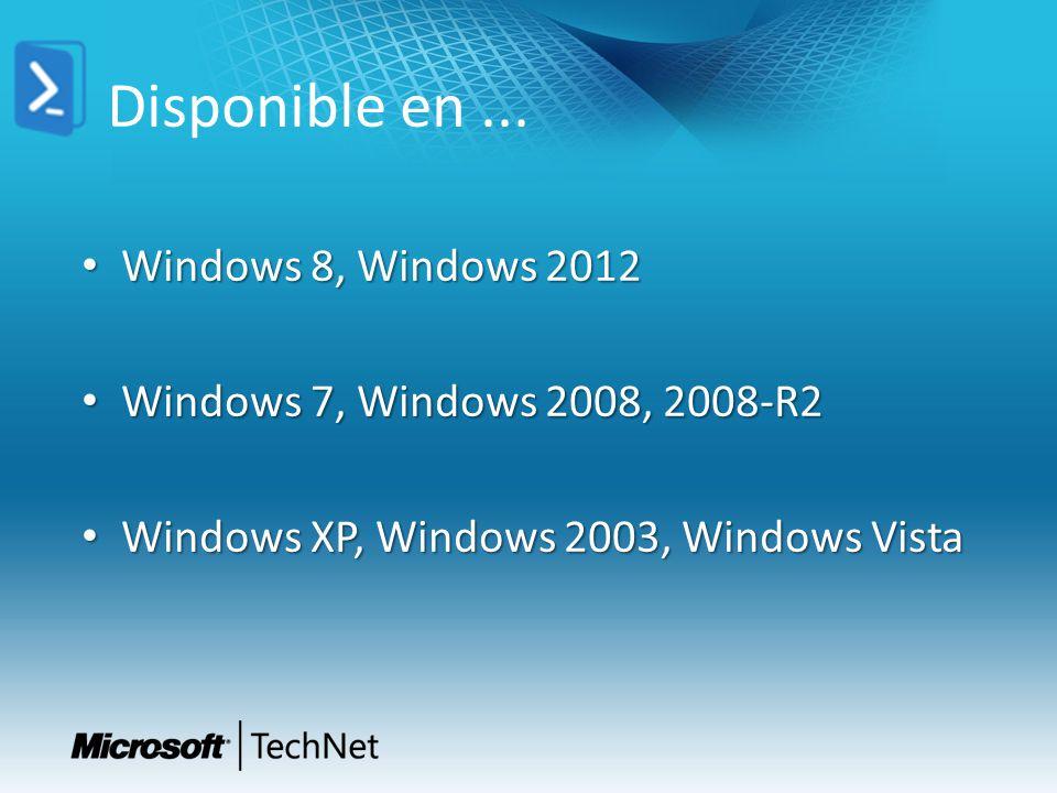 Disponible en ... Windows 8, Windows 2012