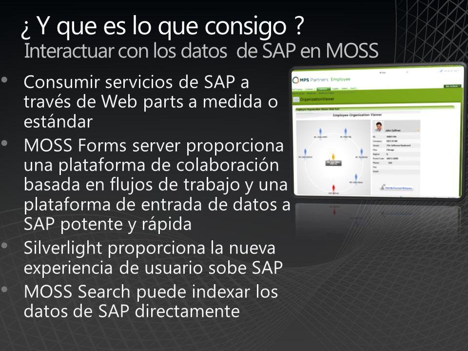 ¿ Y que es lo que consigo Interactuar con los datos de SAP en MOSS