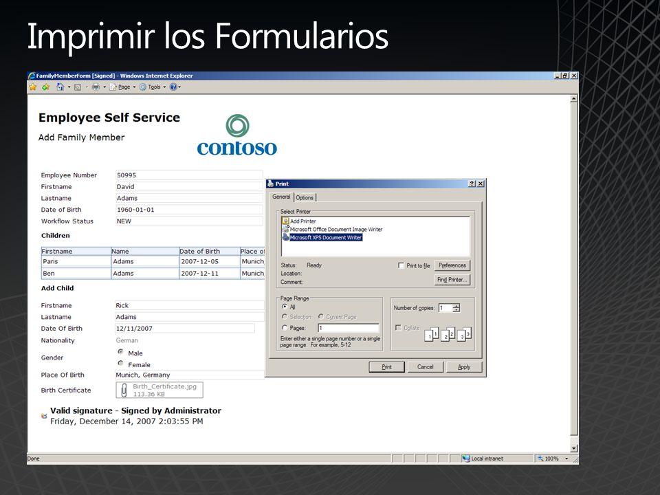 Imprimir los Formularios