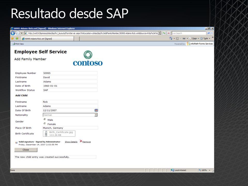 Resultado desde SAP