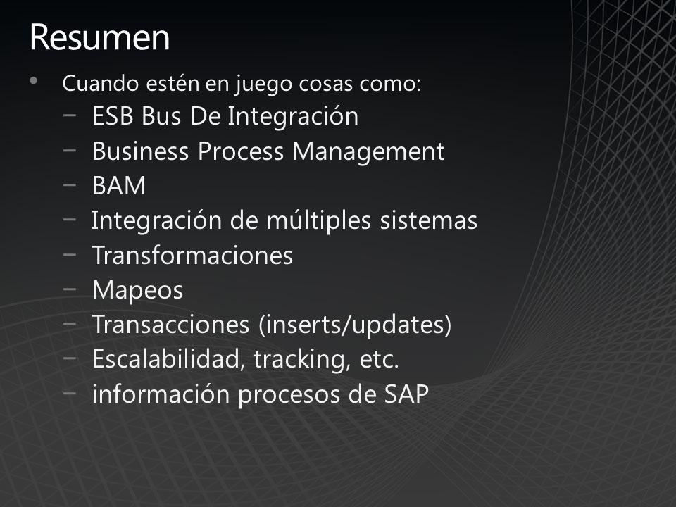 Resumen ESB Bus De Integración Business Process Management BAM
