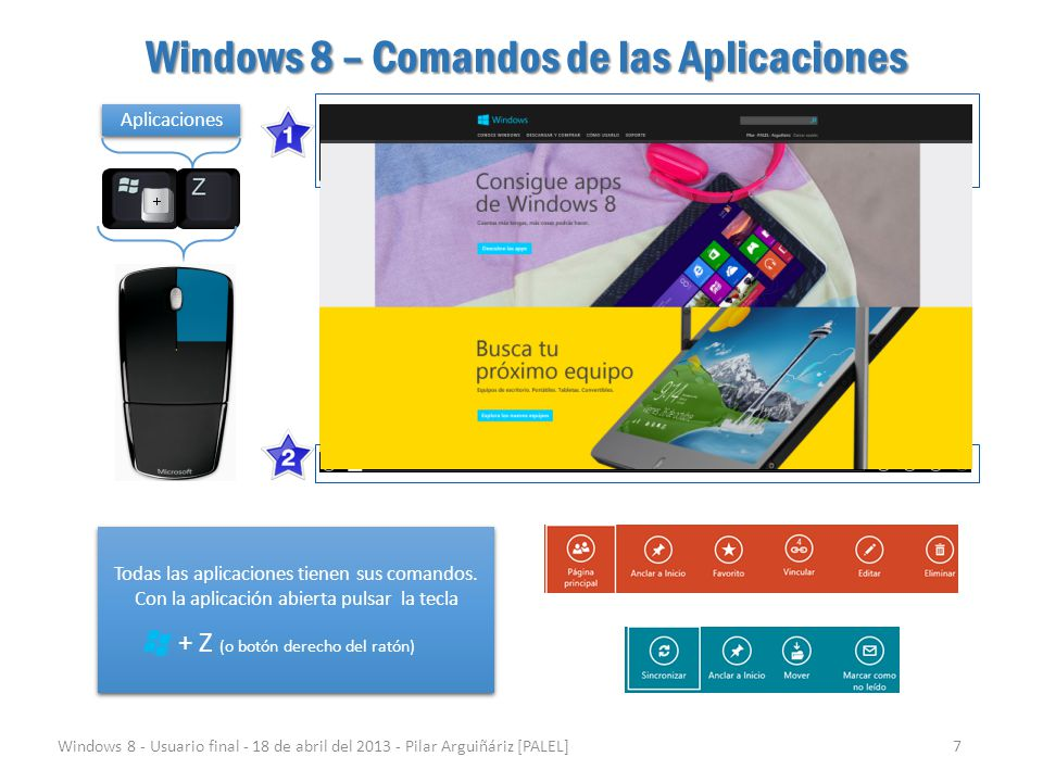 Windows 8 – Comandos de las Aplicaciones