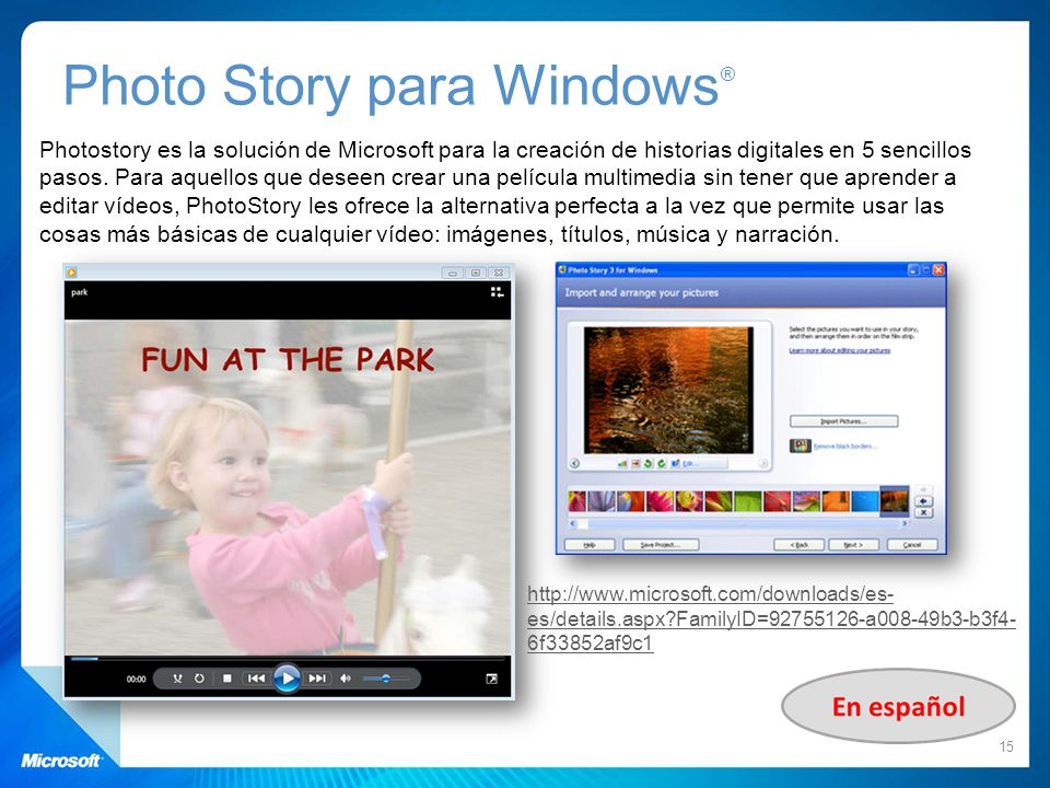 Photo Story para Windows®