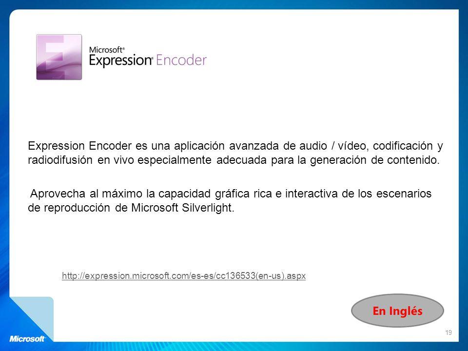 Expression Encoder es una aplicación avanzada de audio / vídeo, codificación y radiodifusión en vivo especialmente adecuada para la generación de contenido. Aprovecha al máximo la capacidad gráfica rica e interactiva de los escenarios de reproducción de Microsoft Silverlight.