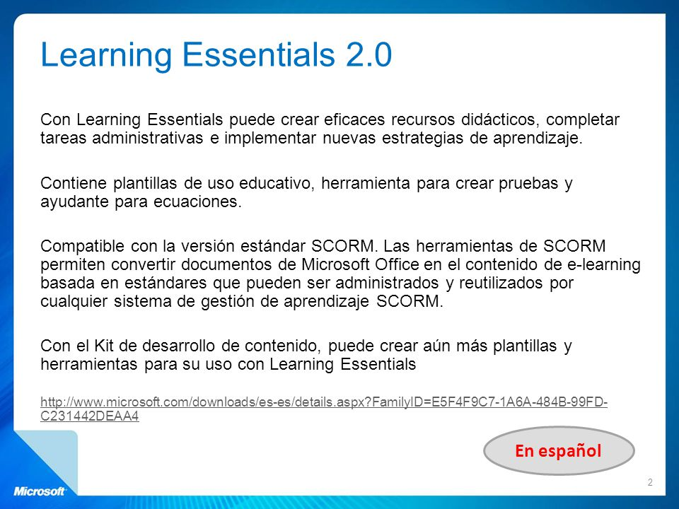 Learning Essentials 2.0 En español