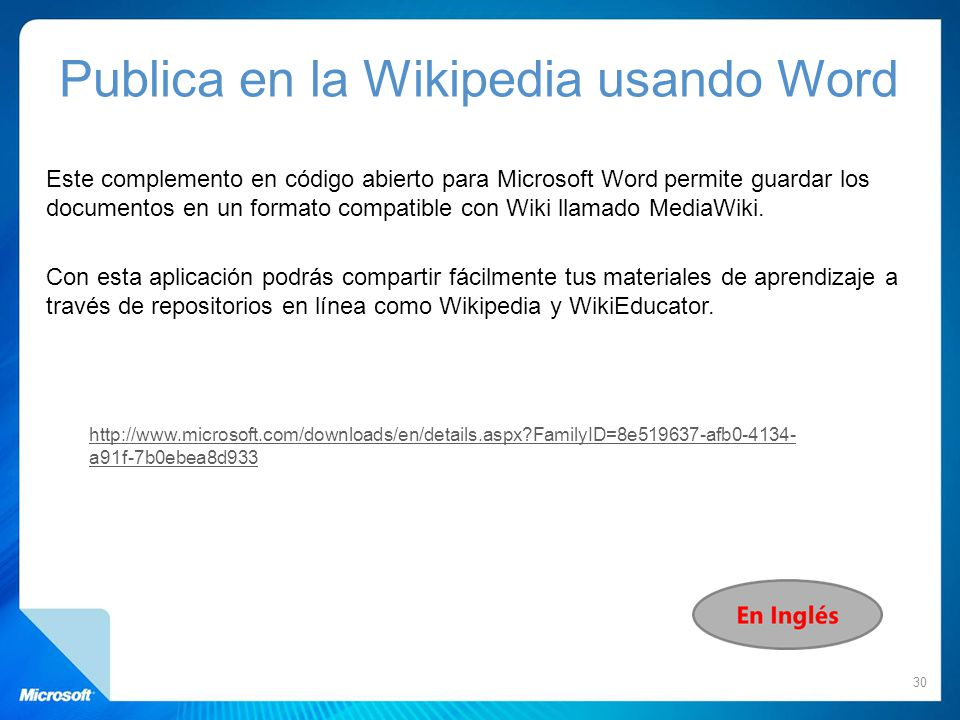 Publica en la Wikipedia usando Word