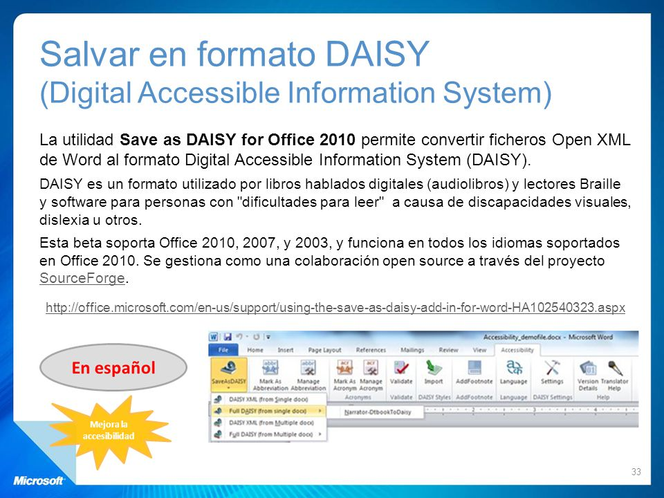 Salvar en formato DAISY (Digital Accessible Information System)