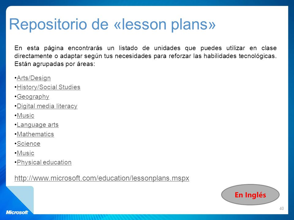 Repositorio de «lesson plans»