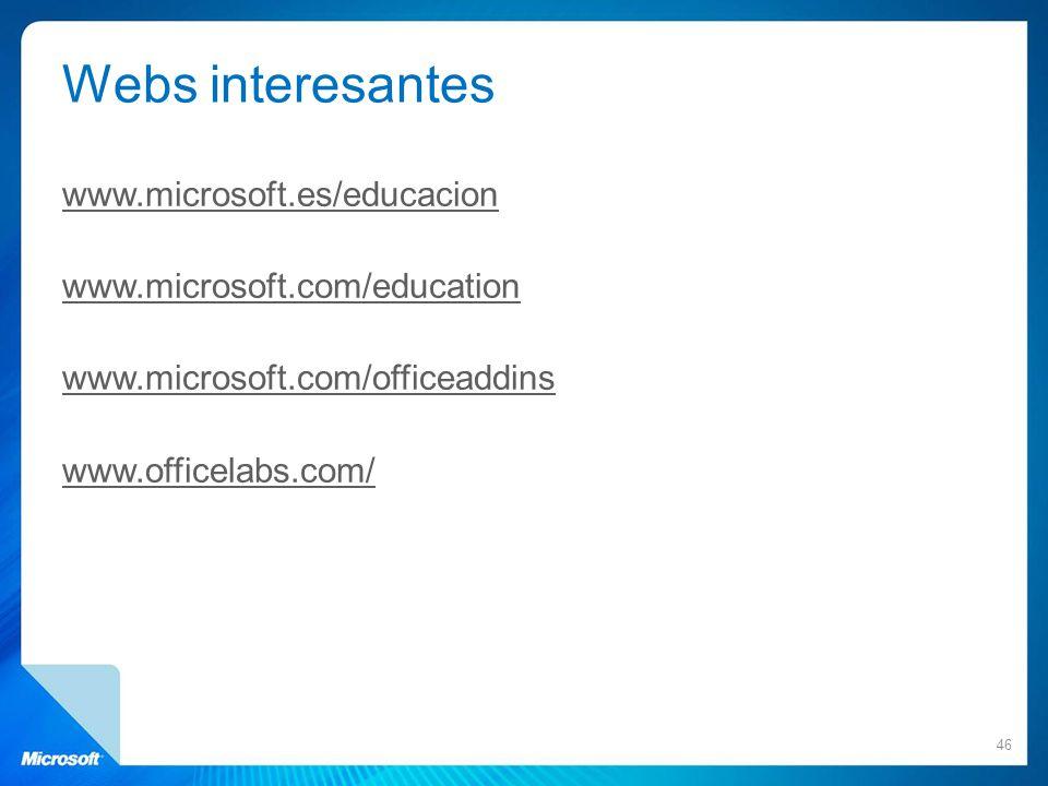 Webs interesantes www.microsoft.es/educacion