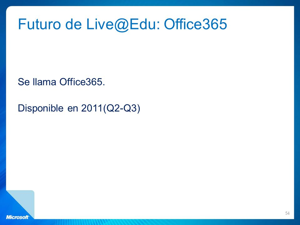 Futuro de Live@Edu: Office365