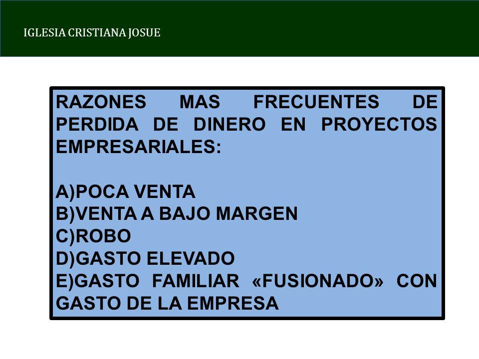 RAZONES MAS FRECUENTES DE PERDIDA DE DINERO EN PROYECTOS EMPRESARIALES: