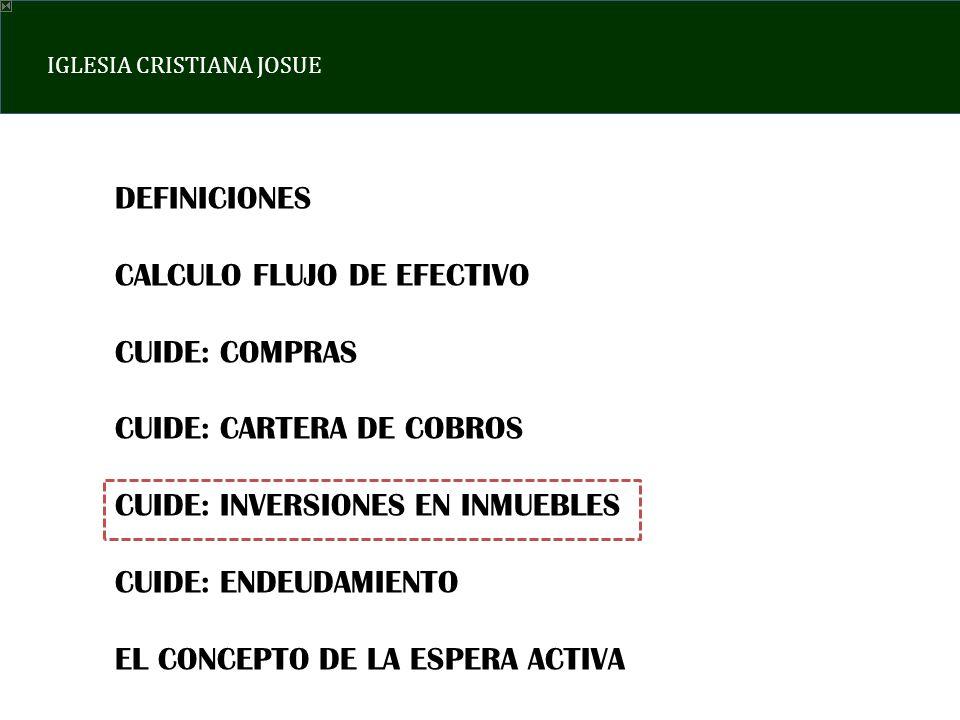 DEFINICIONES CALCULO FLUJO DE EFECTIVO. CUIDE: COMPRAS. CUIDE: CARTERA DE COBROS. CUIDE: INVERSIONES EN INMUEBLES.