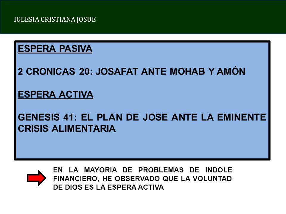 2 CRONICAS 20: JOSAFAT ANTE MOHAB Y AMÓN ESPERA ACTIVA