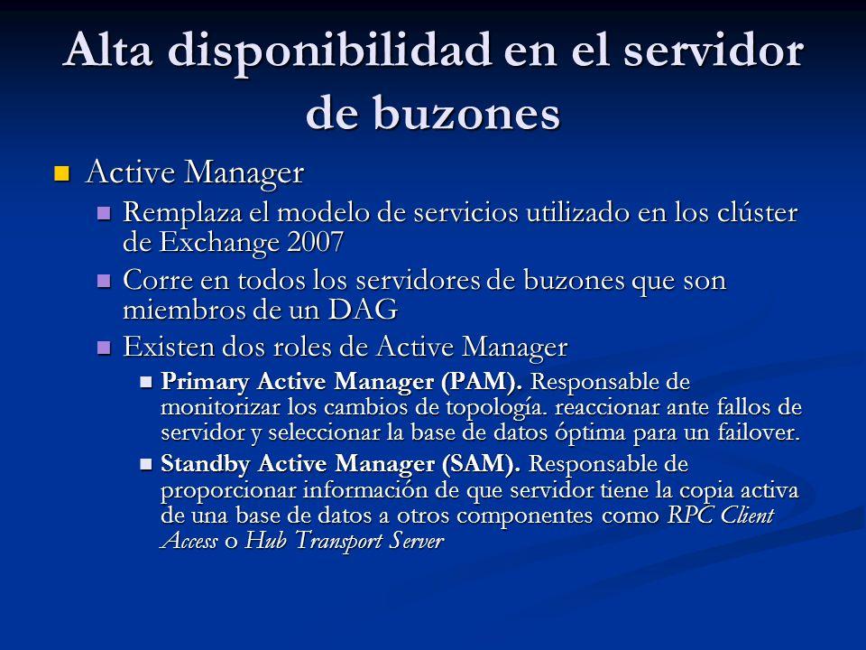 Alta disponibilidad en el servidor de buzones