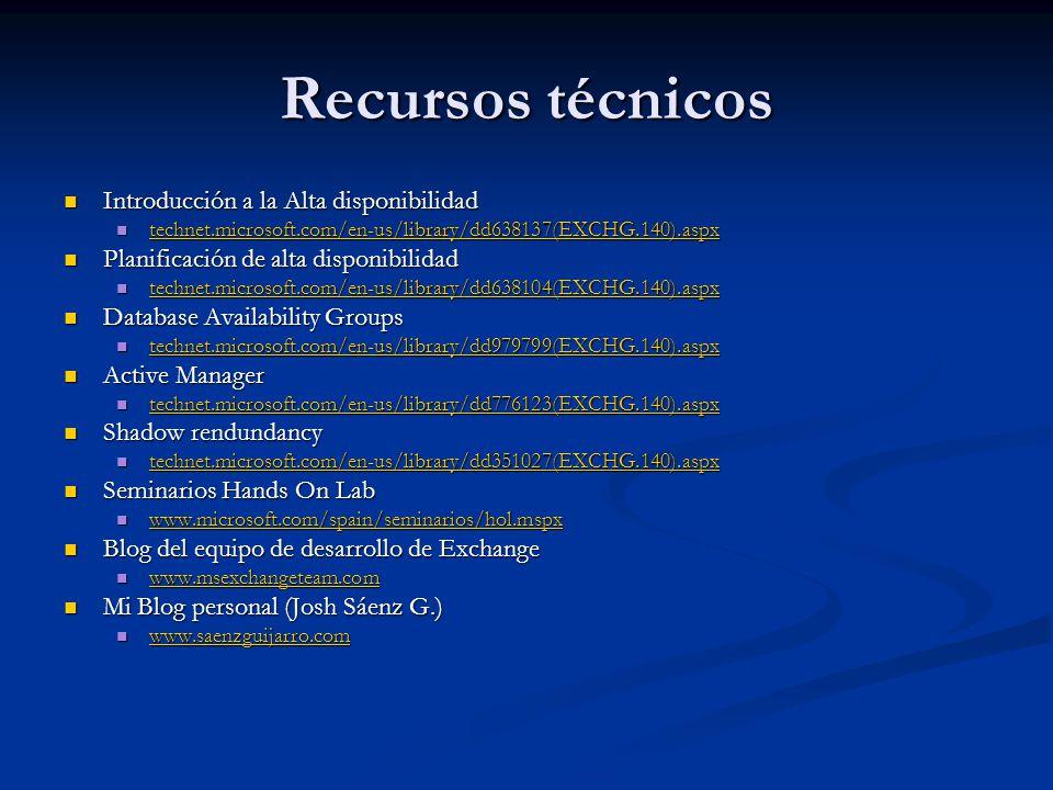 Recursos técnicos Introducción a la Alta disponibilidad