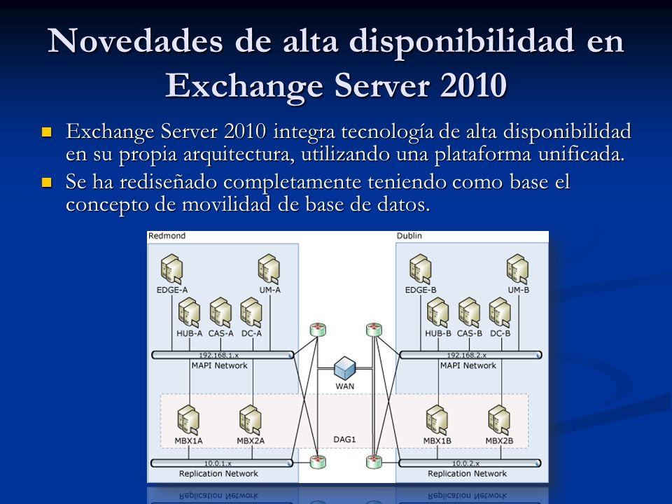 Novedades de alta disponibilidad en Exchange Server 2010