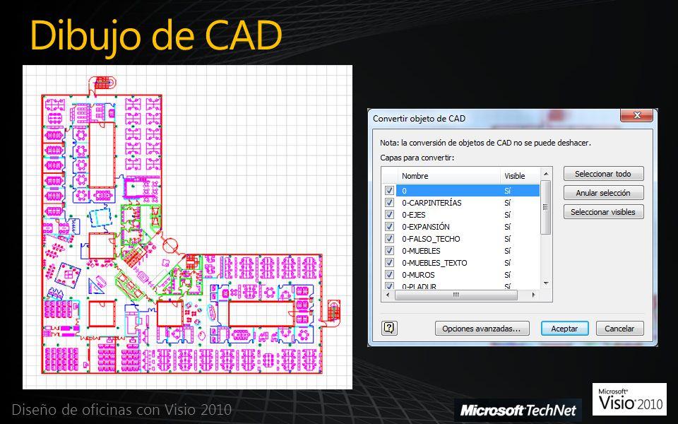 Dibujo de CAD Diseño de oficinas con Visio 2010