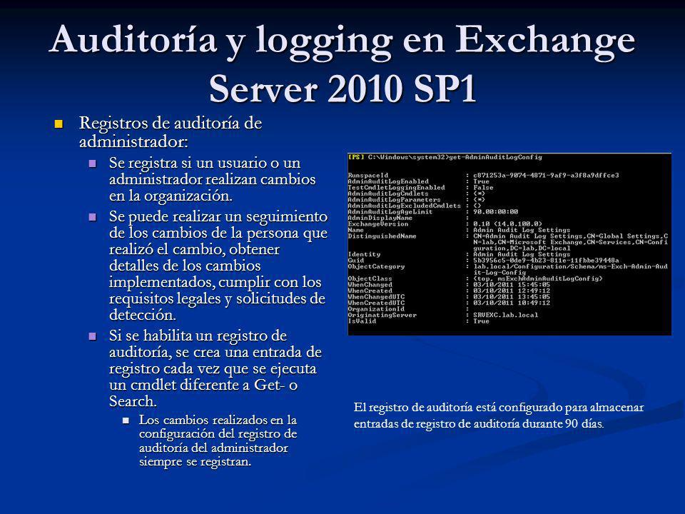 Auditoría y logging en Exchange Server 2010 SP1