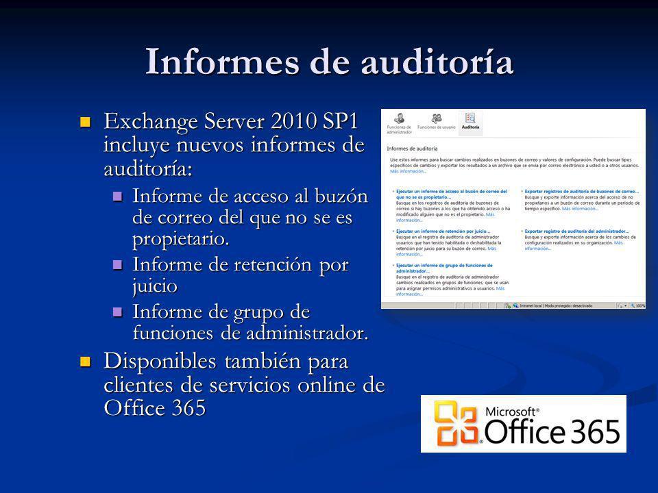 Informes de auditoría Exchange Server 2010 SP1 incluye nuevos informes de auditoría: