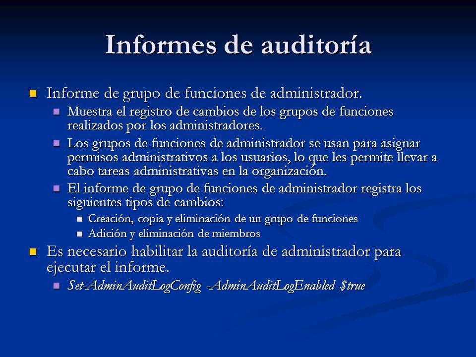 Informes de auditoría Informe de grupo de funciones de administrador.