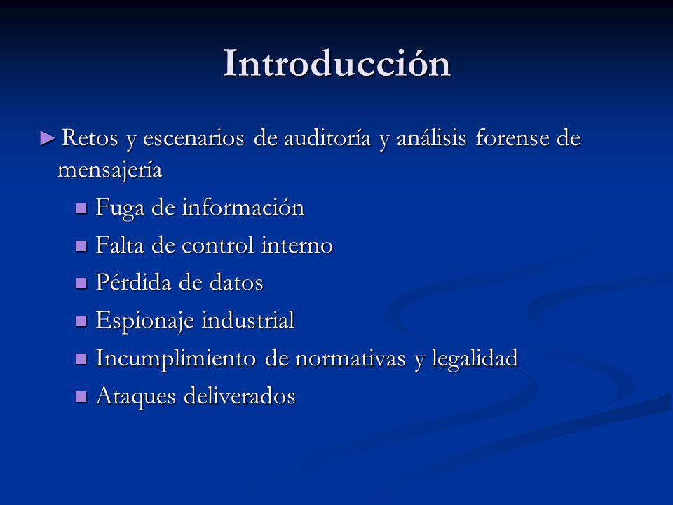 Introducción Retos y escenarios de auditoría y análisis forense de mensajería. Fuga de información.