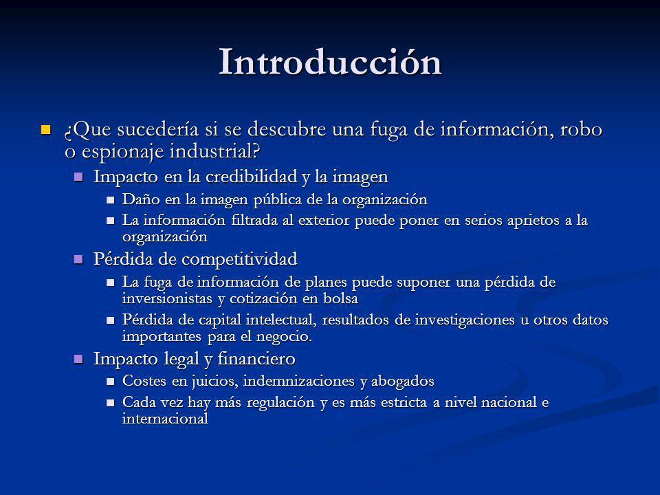 Introducción ¿Que sucedería si se descubre una fuga de información, robo o espionaje industrial Impacto en la credibilidad y la imagen.