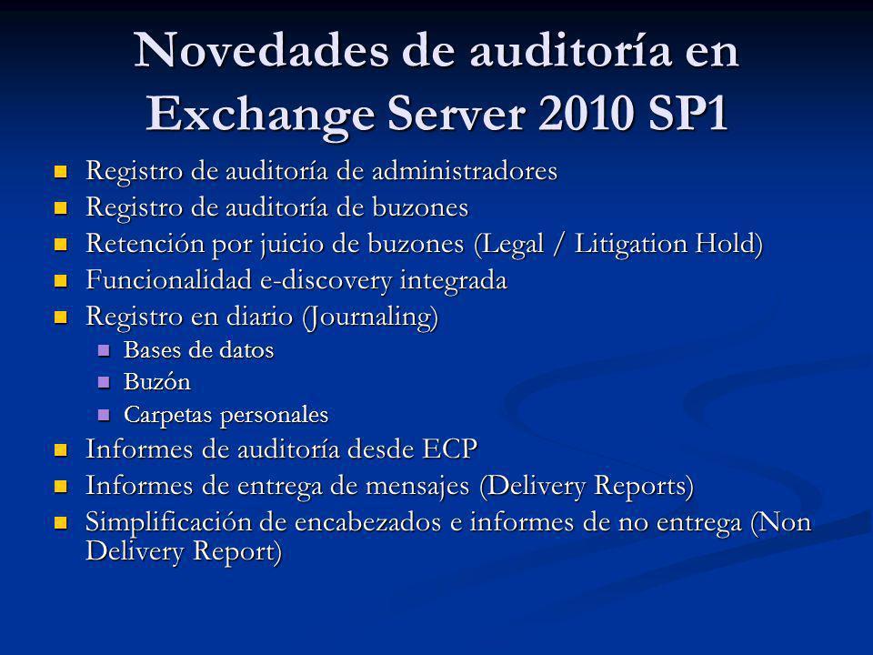 Novedades de auditoría en Exchange Server 2010 SP1