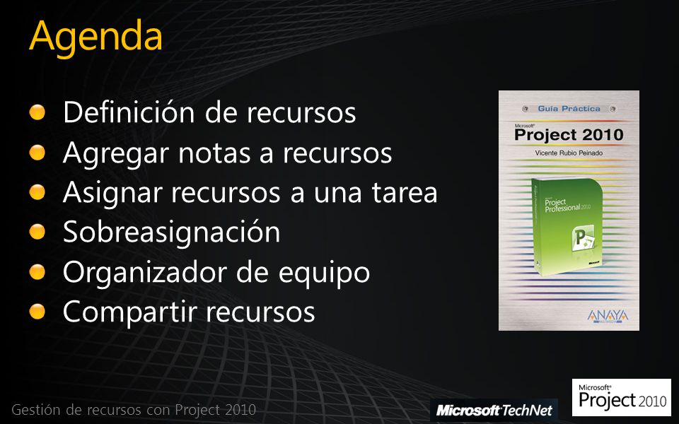 Agenda Definición de recursos Agregar notas a recursos