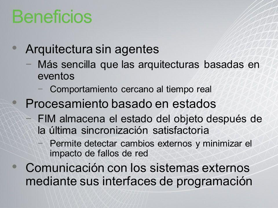 Beneficios Arquitectura sin agentes Procesamiento basado en estados