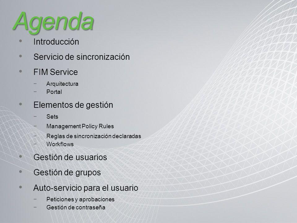 Agenda Introducción Servicio de sincronización FIM Service
