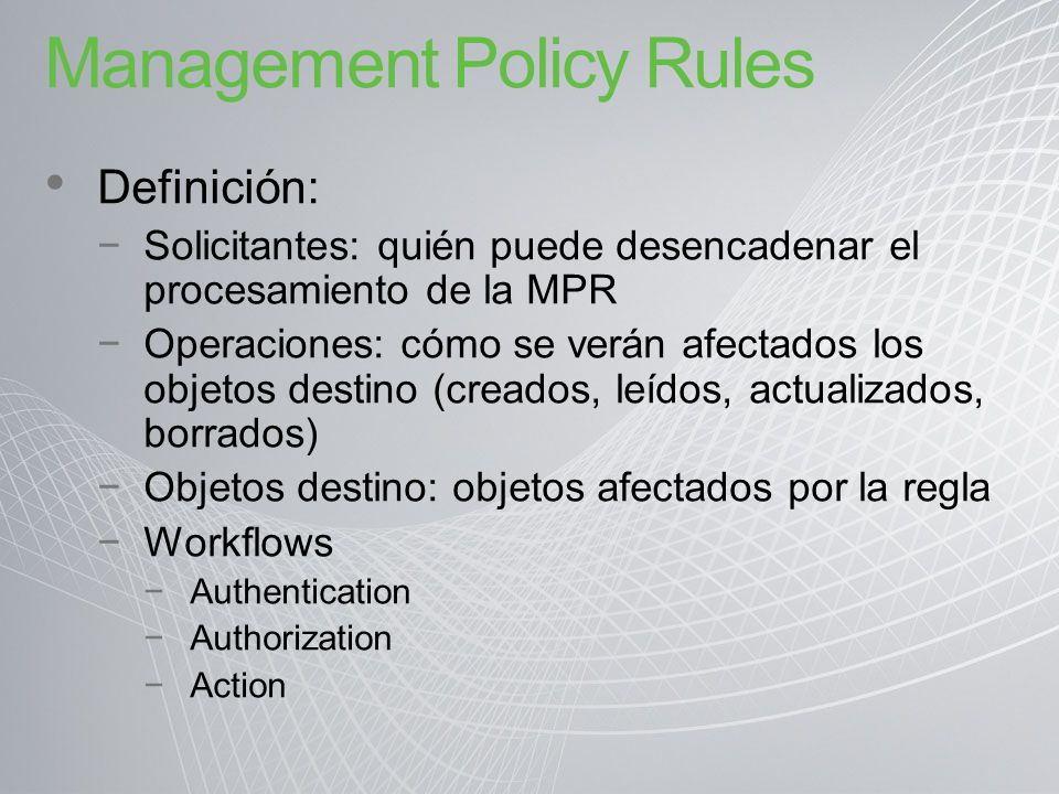 Management Policy Rules
