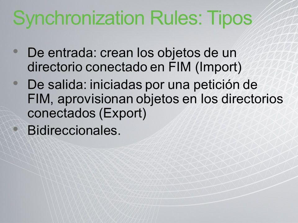 Synchronization Rules: Tipos