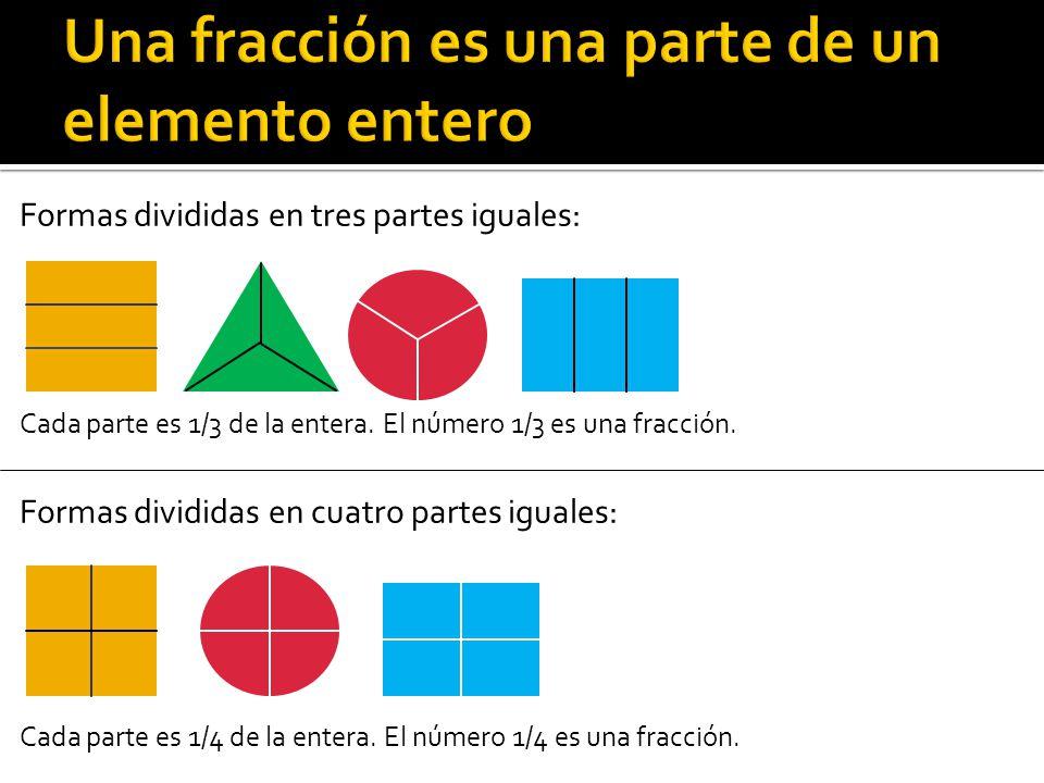 Una fracción es una parte de un elemento entero