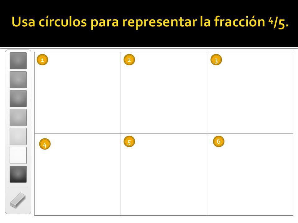 Usa círculos para representar la fracción 4/5.
