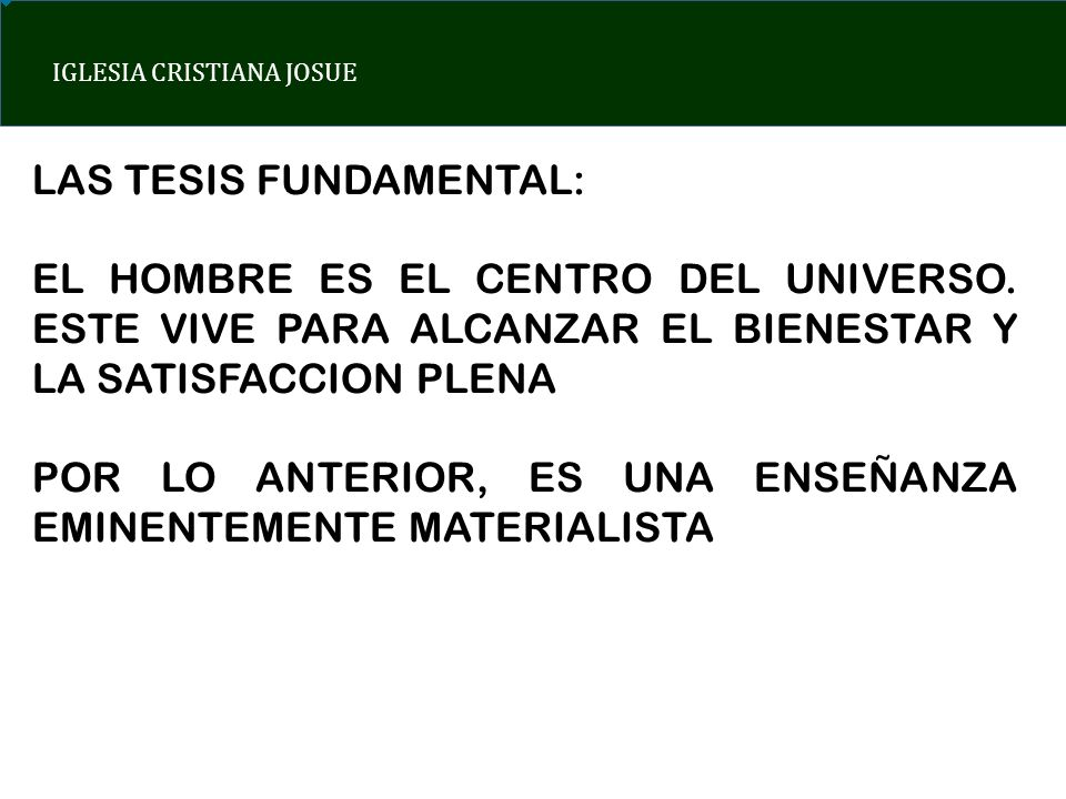 LAS TESIS FUNDAMENTAL: