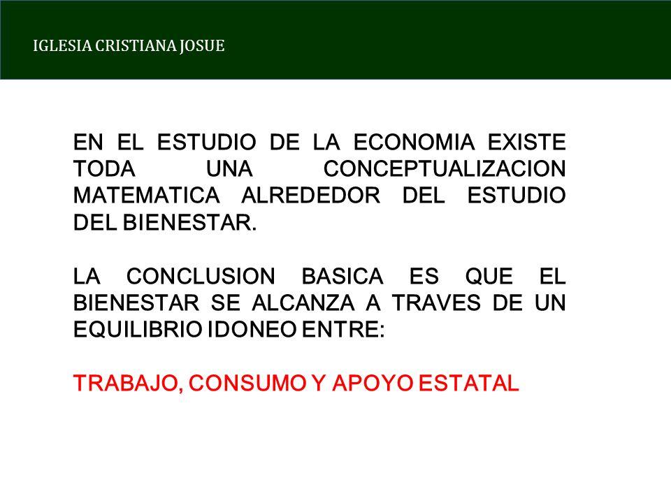 EN EL ESTUDIO DE LA ECONOMIA EXISTE TODA UNA CONCEPTUALIZACION MATEMATICA ALREDEDOR DEL ESTUDIO DEL BIENESTAR.
