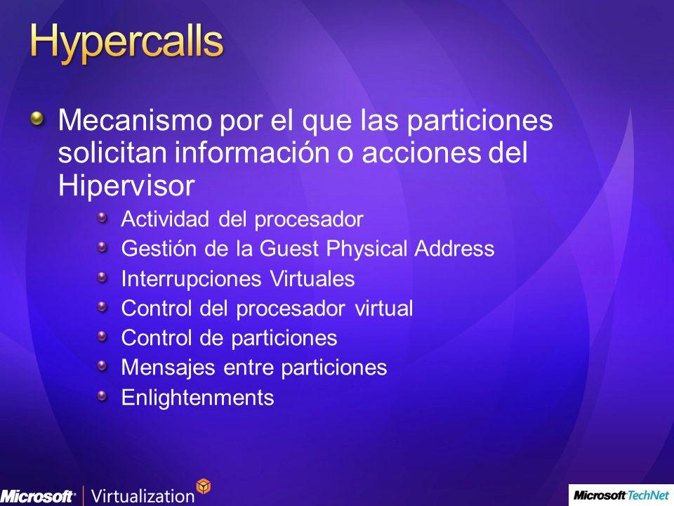 4/1/2017 6:54 PM Hypercalls. Mecanismo por el que las particiones solicitan información o acciones del Hipervisor.