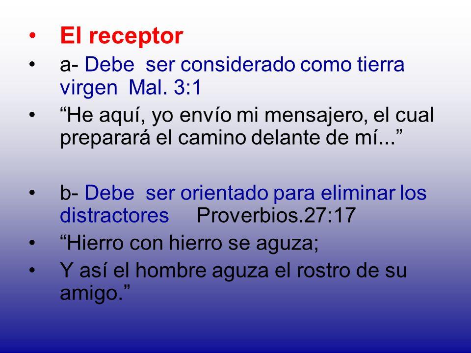 El receptor a- Debe ser considerado como tierra virgen Mal. 3:1