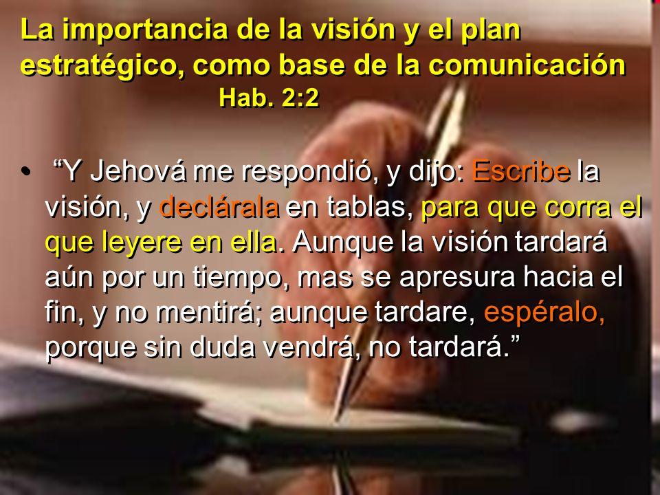 La importancia de la visión y el plan estratégico, como base de la comunicación Hab. 2:2